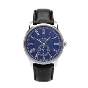 Gents Classic British Watch with Black Strap and Blue Face