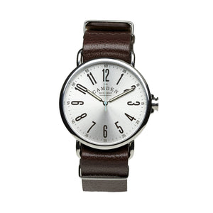 No.88 Unisex Steel And Brown Leather Watch