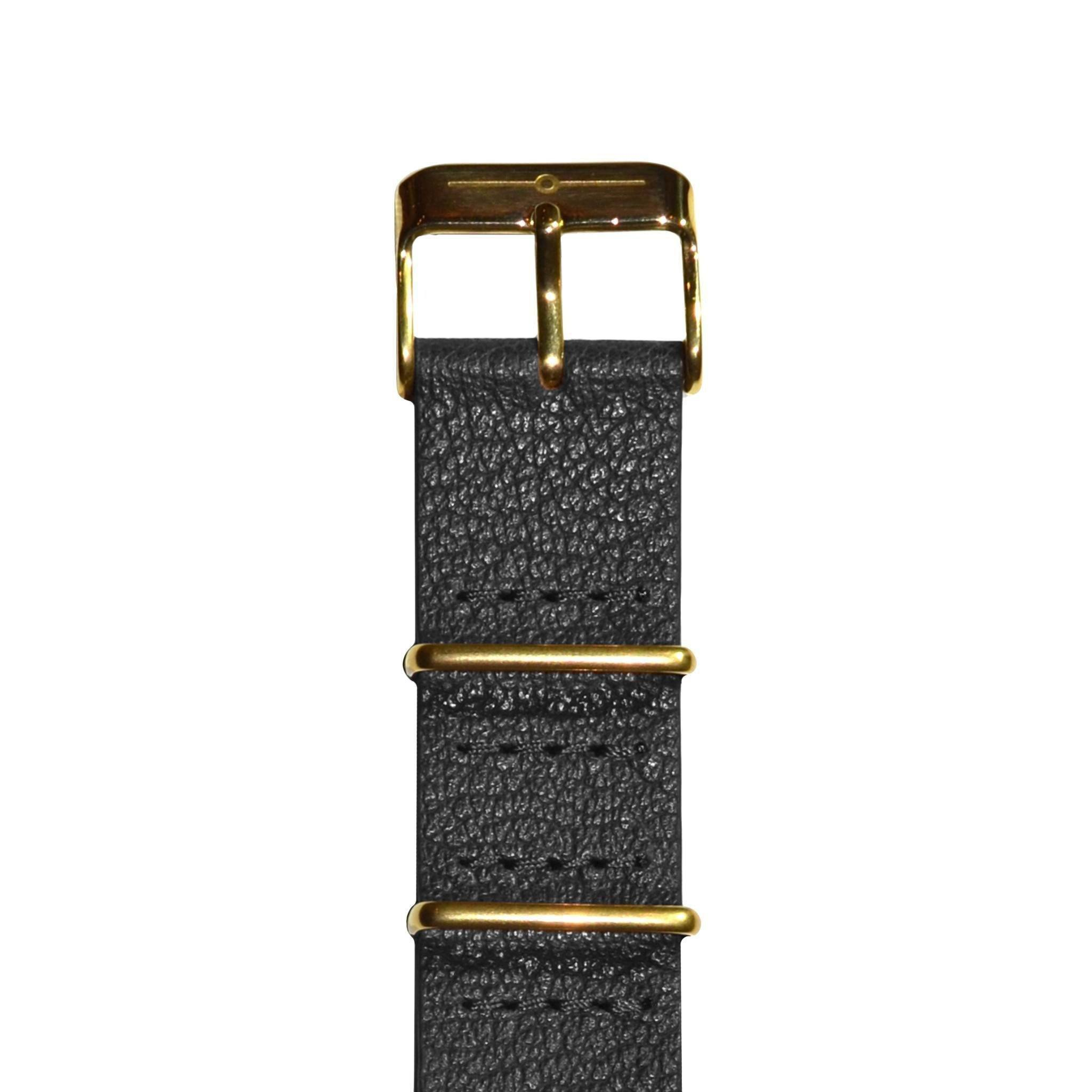 7d4ba2efd54 Black Leather and Gold NATO - The Camden Watch Company