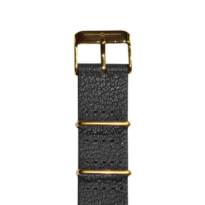 Strap - Black Leather And Gold NATO