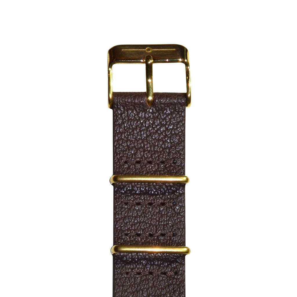 Strap - Brown Leather And Gold NATO