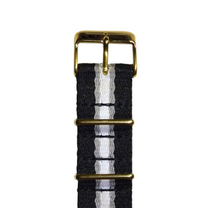 Strap - Grey Stripe And Gold NATO