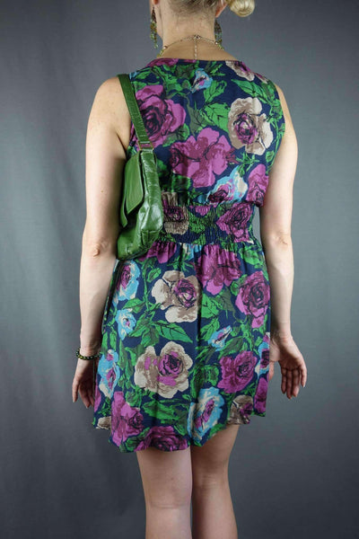 Apricot Floral Green Summer Dress Size S/M