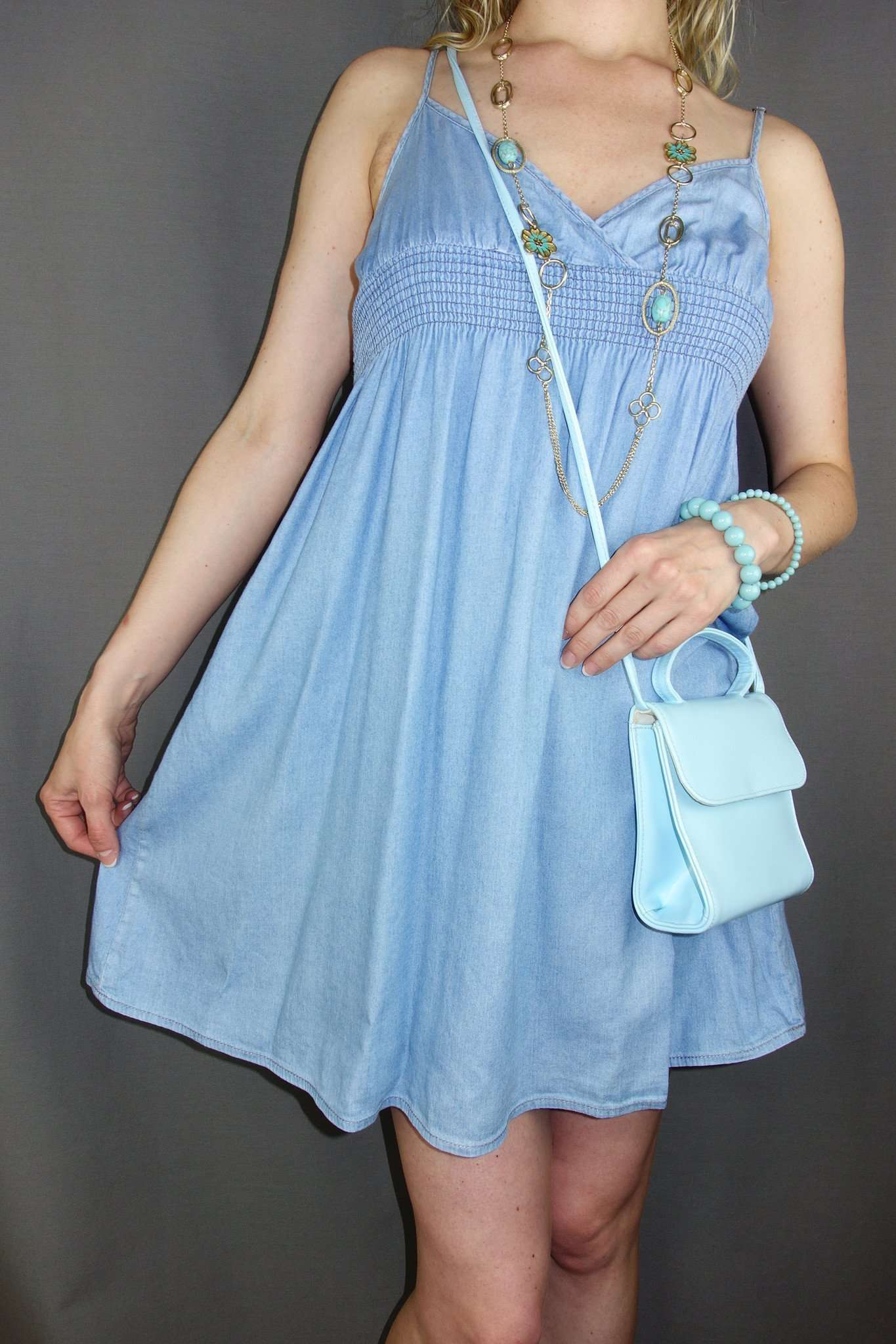 H&M Blue Denim Look Party Casual Dress Sleeveless Size 10 - Miss Glamess