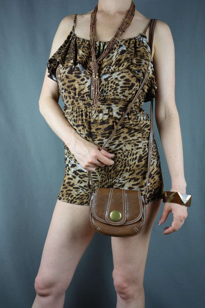 Miso Brown Animal Print Strappy Playsuit Size 8