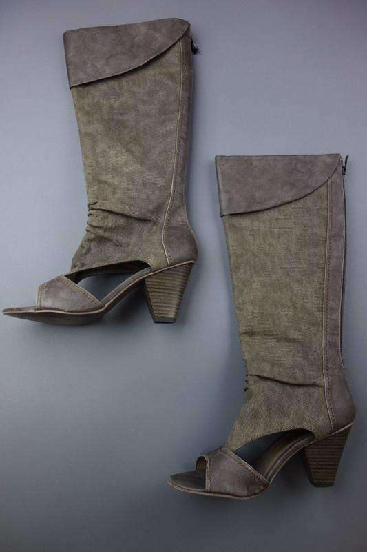 Brown Grey High Heel Boots by Marco Tozzi Size (UK 6) EUR 39