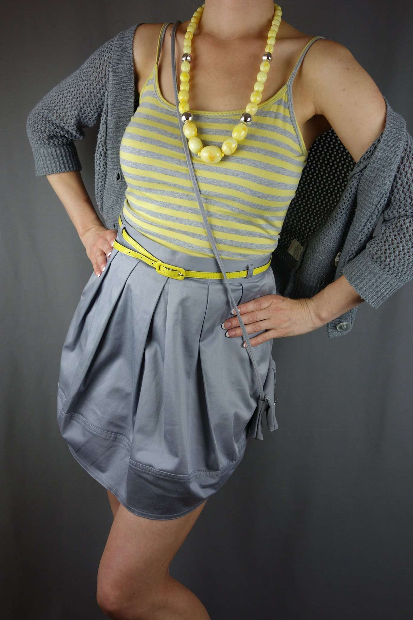 Grey Mini Skirt with Yellow Belt Size 12 + Next Top Size 10 - Miss ... 7c5c3fe18
