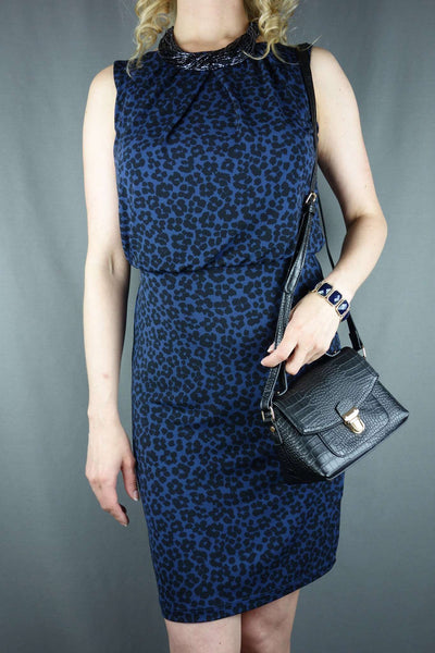 Papaya Blue Black Smart Business Dress Size 8