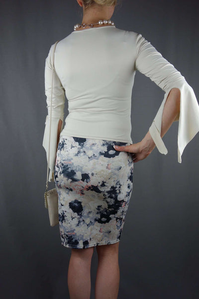 Pink Soda Pencil Straight Skirt Size 8 + Beige Top