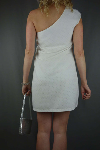 Mango White Mini One Shoulder Party Sexy Dress Size S