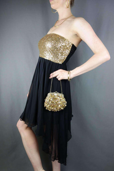 Asos Party Evening Bandeau Sequined Dress Size 12