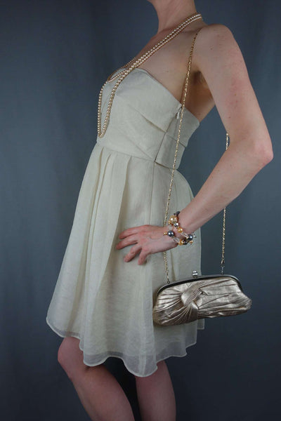 Cream Ivory Party Evening Wedding Bandeau Dress Size 12
