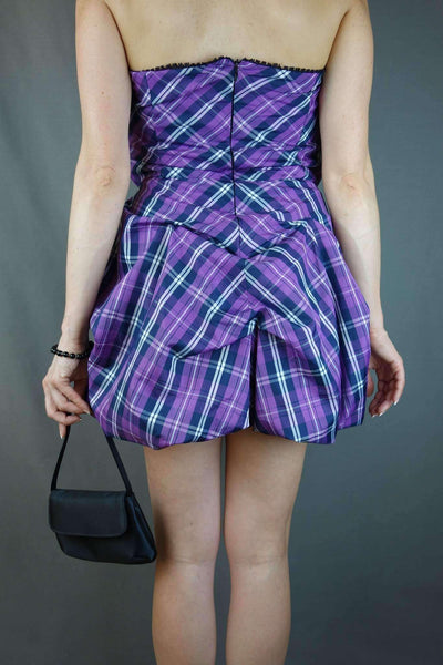 Bandeau Purple Mini Party Peplum Dress Size 12
