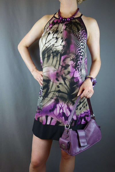 Purple Black Short Casual Party Dress Size 12/14 by TU