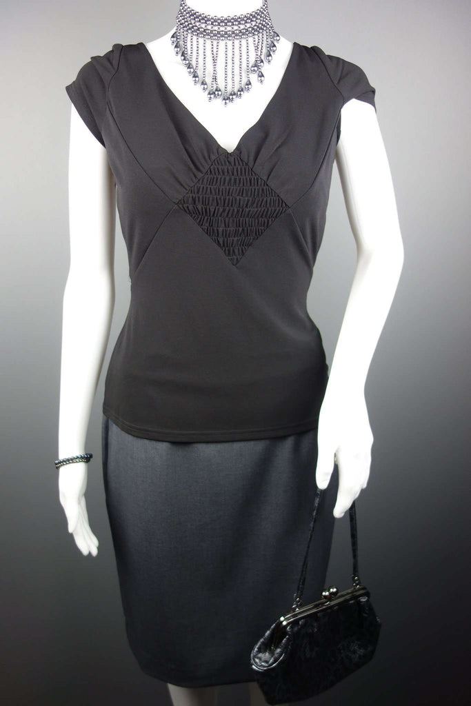 GIBSON GIRL Black Womens Top Size 10  + Grey Skirt H&M Size UK 10-12