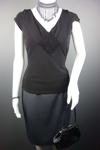 2a6fc27a244 GIBSON GIRL Black Womens Top Size 10 + Grey Skirt H&M Size UK 10-12