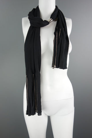 Black Tassel Metal Chain Neck Scarf