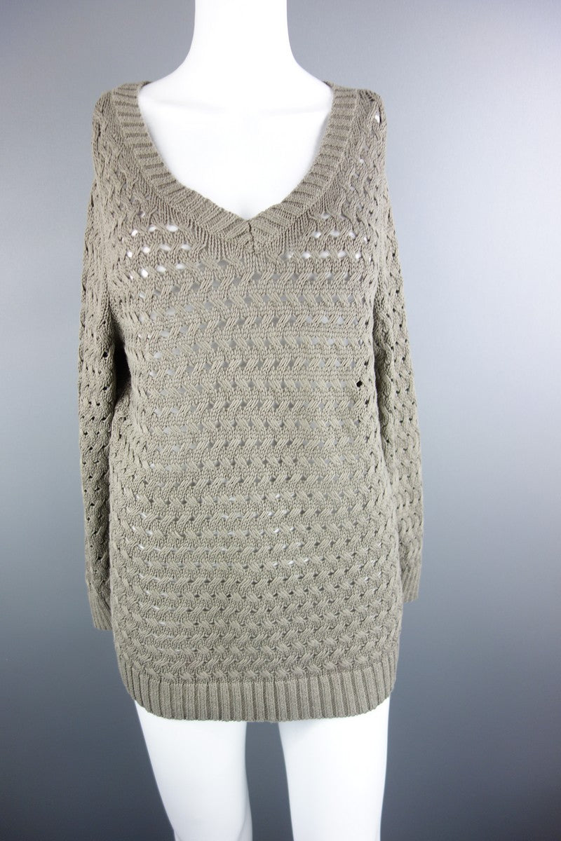 6aed9ab4da2e1 Lands' End Knitted Khaki Green Jumper Size M - Miss Glamess