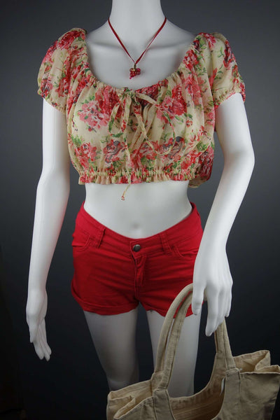 Red Hot shorts Size 8 by H&M + Top Blouse by Miso Size 8