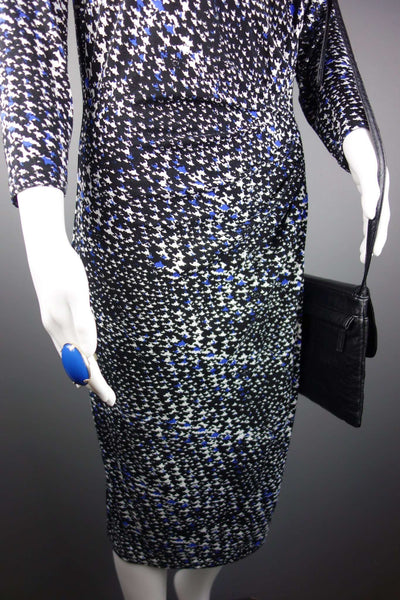 Smart Knee Length Black Blue Dress Size 12