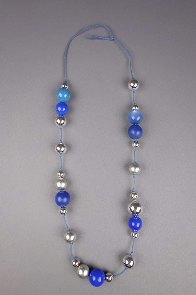 Wood Silver Blue Colour Beaded Necklace
