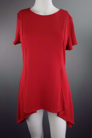 Celmia Collection Asymmetric Red Tunic Top Size L - £7.50 GBP