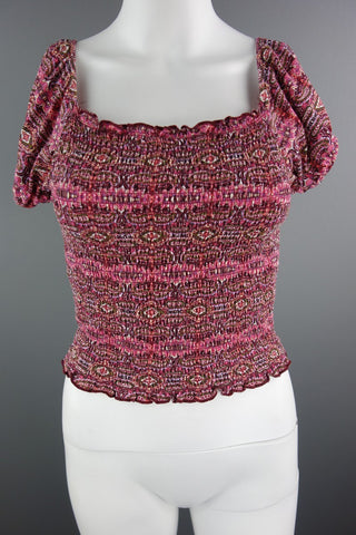 Pink Mix Stretchy Crop Top Size UK 12 (EUR 38-40)