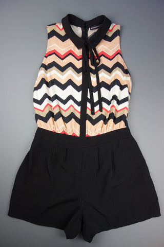 Black Peach Mix Collared Playsuit Size UK 10 (EUR 36-38) - £10.00