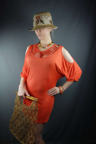 Orange Tunic Short Mini Dress Top by Kapalua Size M