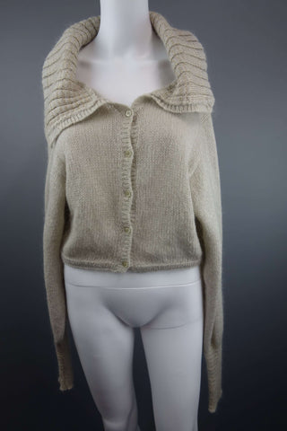 Mohair Mix Beige Short Cardigan Size S by Benetton - £7.50
