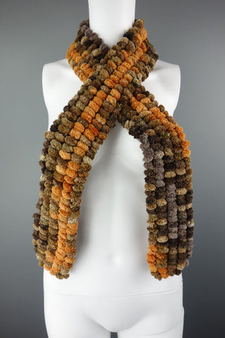 Beige Brown Orange Fluffy Scarf