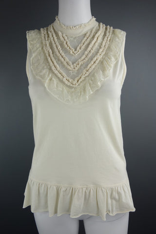 Miss Selfridge Cream Beige Frill Top Size 8