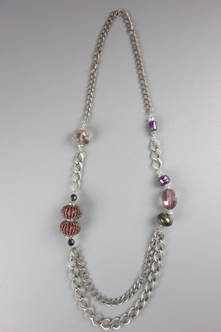 Long Silver Look Chain Purple Detail Necklace