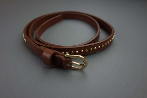Slim Mid Brown Belt WIth Gold Colour Effect - £5.00