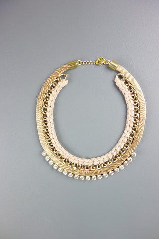 Peach Gold Rhinestones Short Necklace