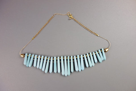 Blue Gold Look Necklace