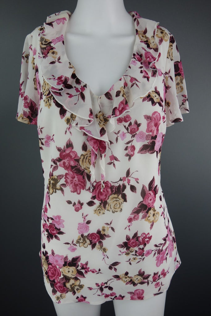 Cream Pink Flowers Top by Damart Size UK 12