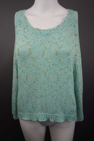 Scoop Neck Green Gold Thread Jumper Size UK 12 - £7.50