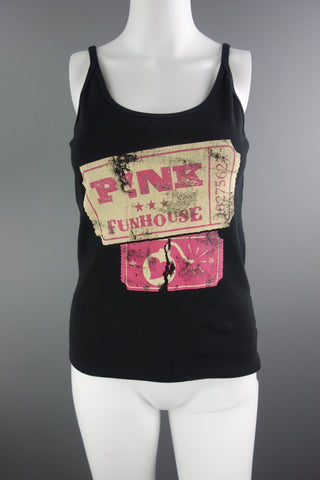 Continental Cotton Black Pink Strappy Top Size L