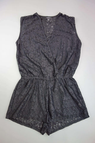 Black Sleeveless Lace Style Playsuit Size M - Miss Glamess