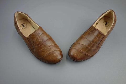 Brown Leather Slip On Flat Shoes Size UK 4 (EUR 36)