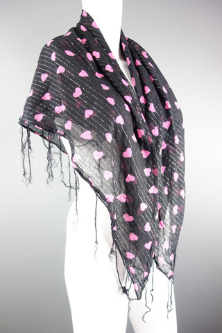Black Scarf with Pink Hearts - Miss Glamess