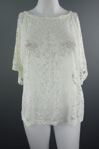 940a21aefc17f9 Cream Lace Short Sleeves Top Size UK 10 (EUR 36-38)