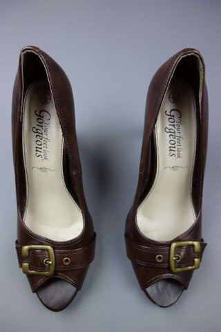 Peep Toes Brown Heels Shoes Size UK 5 (EUR 38) by New Look