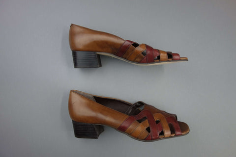 Leather Peep Toes Brown Shoes by K Shoes Size 5