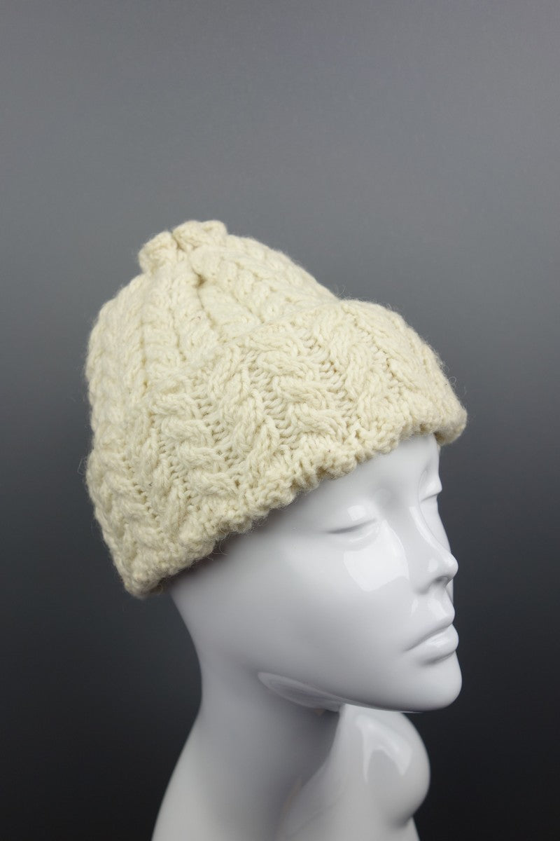 Cream Beige Wooly Knitted Hat - Miss Glamess ca5c8d69ad3