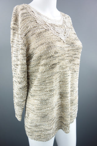 Beige Mix Jumper 3/4 Sleeves by BM Size S - £7.50