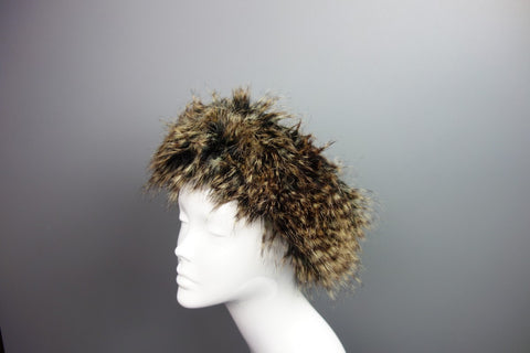 Faux Fur Brown Headband Ski Hat