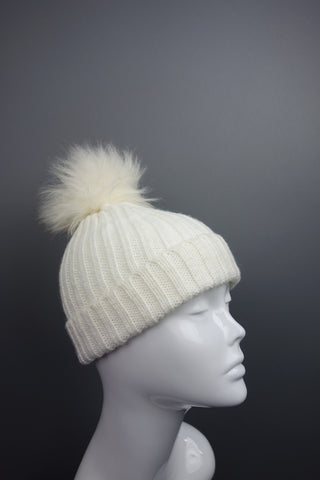 Cream Beige Knitted Bobble Pom Hat