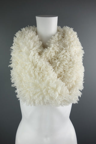 Fluffy Cream Circular Snood Style Scarf